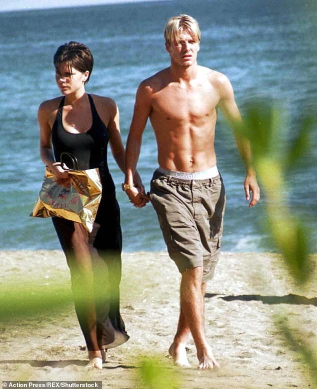 Big fans: The couple even went to Beverley's Corrie leaving party in 1998 when David was still playing for Manchester United (pictured in Marbella in October 1998)