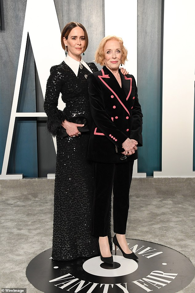 In love:Sarah and girlfriend Holland Taylor, 77, hit the headlines in 2015 and it was the first time Holland was an open item with another woman; Sarah and Holland pictured in February