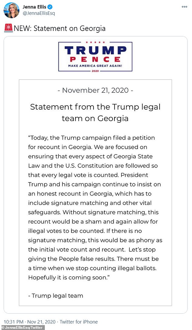 Despite the legal setback, it appears the president is moving full steam ahead. Trump¿s legal team said Saturday that his campaign has requested a recount of votes in the Georgia presidential race after results showed Biden winning the state
