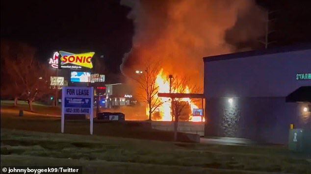SWAT teams descend on Sonic restaurant in Nebraska after a vehicle burst into flames outside