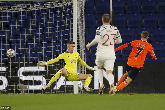 Henderson concedes during Manchester United's Champions League loss to Basaksehir