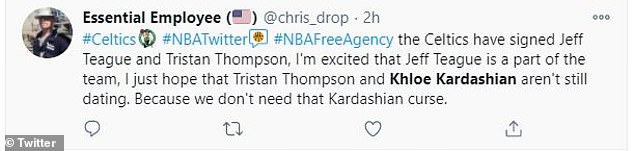 Reaction: After the deal was made public, Celtics fans took to Twitter on Saturday night to voice their disdain toward a potential Kardashian invasion