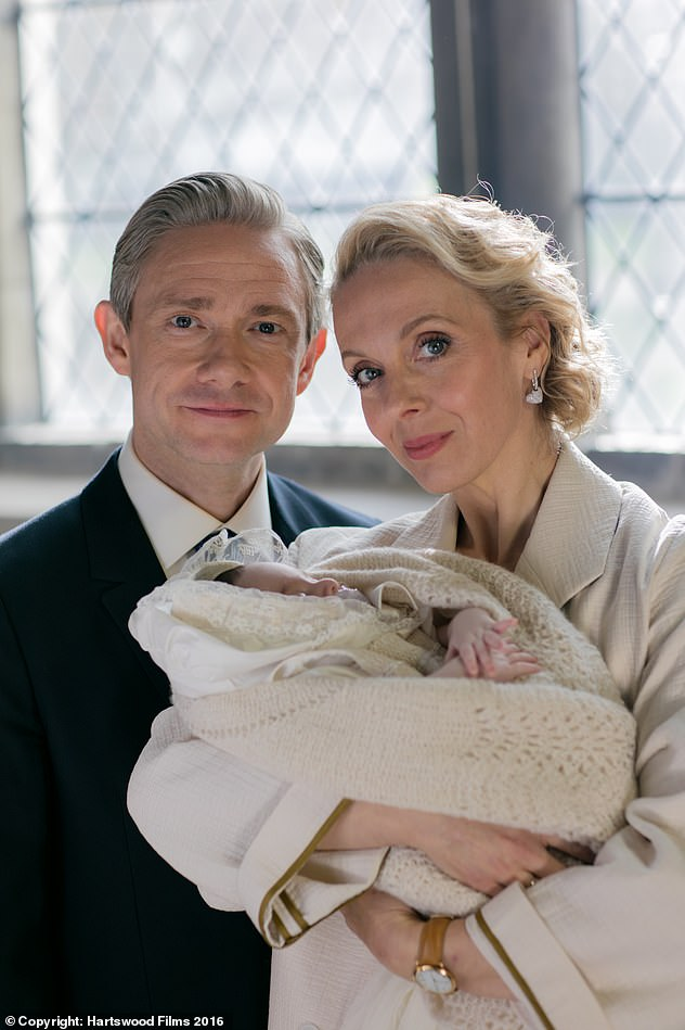 Co-stars: Sherlock's Martin and Amanda, 46, starred as on-screen couple Dr. John Watson and Mary Watson in the BBC series (pictured in 2016's season after their split)