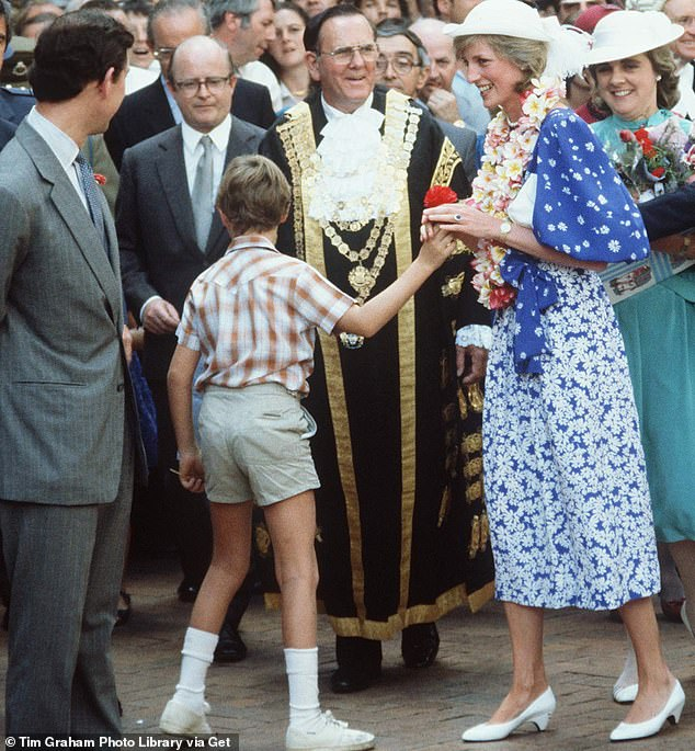 Edward Adeane, who died in 2015 aged 75, was private secretary and treasurer to the Prince of Wales from 1979 and 1985 (Pictured second from left with the Prince and Princess of Wales in Brisbane, Australia in 1983)