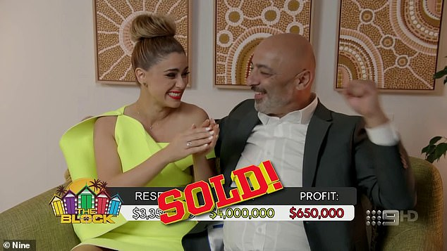Ecstatic: Victorian father and daughter duo Harry and Tash (pictured) pocketed $650,000, with a bid of $4,000,000, over their reserve of $3,350,000