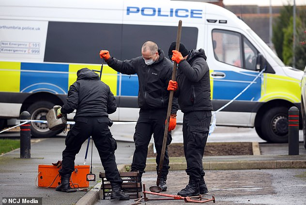 Northumbria Police confirmed a 49-year-old man was arrested near Glasgow on suspicion of murder following the attack. Pictured: Police at the scene on Friday