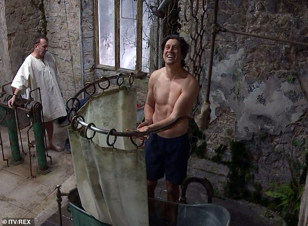 Steamy:Jessica Plummer, Vernon Kay and AJ Pritchard all stripped off to shower in the grimy bathroom at Gwrych Castle