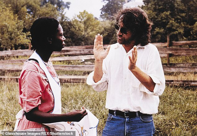 The rest is history: Steven Spielberg eventually convinced Whoopi to take on the starring role. Pictured together on the acclaimed period drama's film set back in 1985