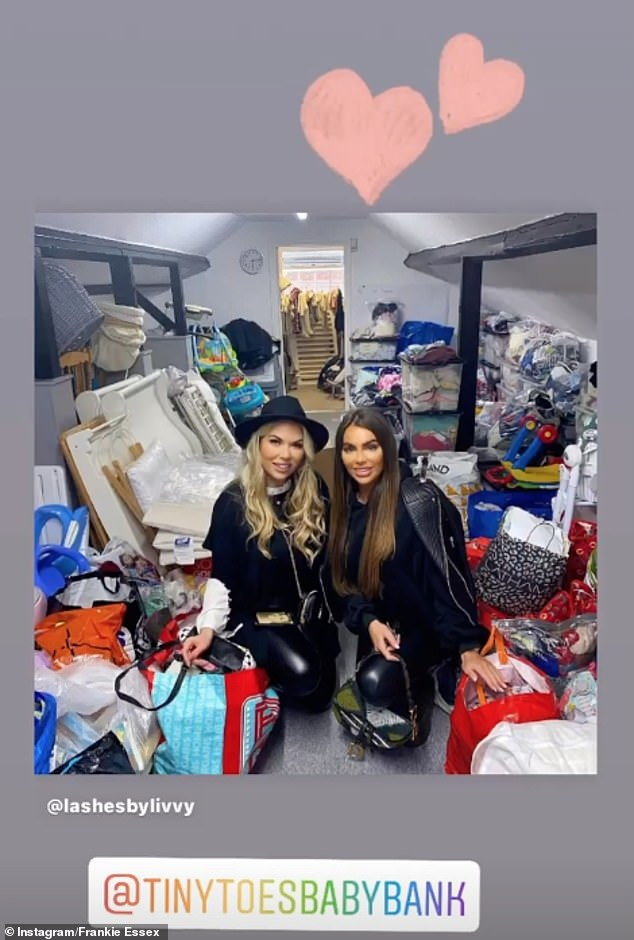 Volunteering:Frankie and her friend dropped off baby items at Tiny Toes Baby Bank inBuckhurst Hill, Essex, before helping sort through all the donations