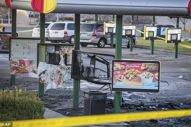 The drive-thru of the Sonic restaurant is seen on Sunday morning following the vehicle explosion the previous night