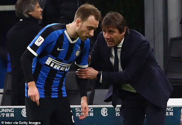 Eriksen (left) has struggled to nail down a regular place in Antonio Conte's Inter side