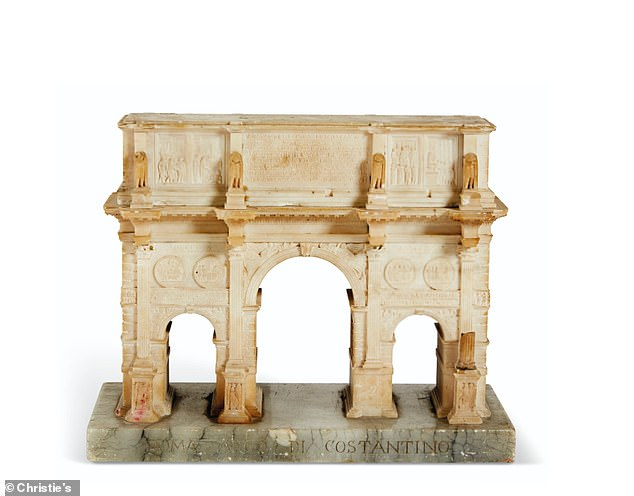 One-of-a king trinkets, including this carved alabaster model of the Arch of Constantine, are also garnering buzz. It could fetch more than