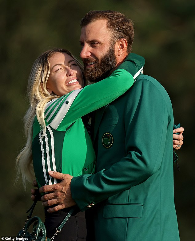 Big day: Paulina was overcome by emotion as she embraced her husband after he won the Masters; seen November 15