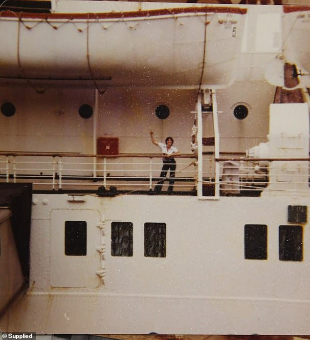 After her defection Gasinskaya made international news as the 'Red Bikini Girl', having swum ashore in Pyrmont and in broken English asked a man walking his dog for clothes and assistance. She is pictured on board SS Leonid Sobinov before reaching Sydney