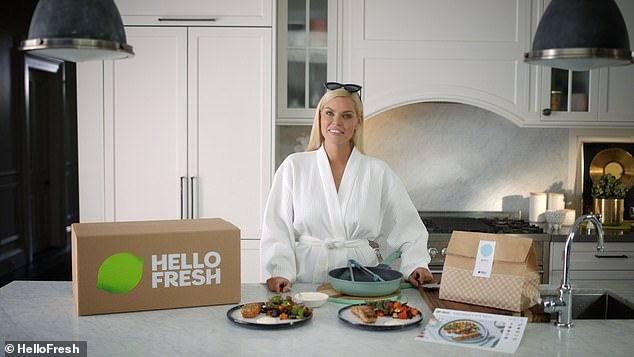 'I don't have to think about what's for dinner or waste time grocery shopping': Sophie, who is a HelloFresh ambassador, praised the delivery service for making eating healthy easy