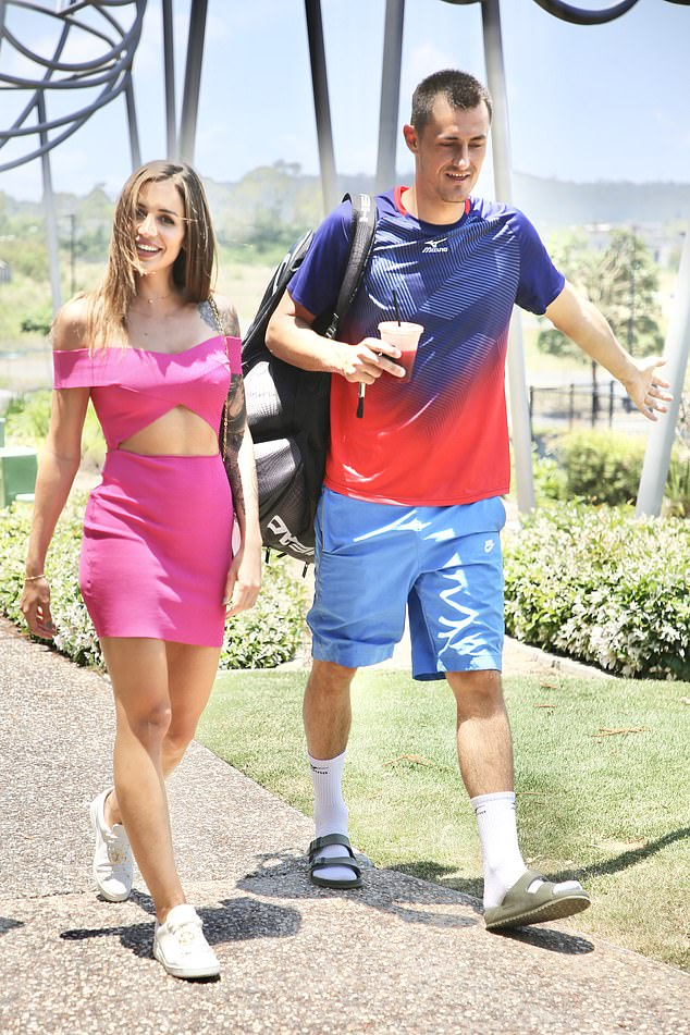 New romance: On Tuesday, the couple appeared more loved-up than ever as they arrived at the courts ahead of his match