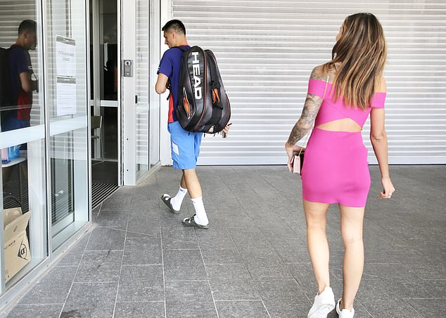 Style: Bernard was dressed in his workout clothes while Vanessa turned heads in a hot pink mini dress that featured a cut-out at her midriff