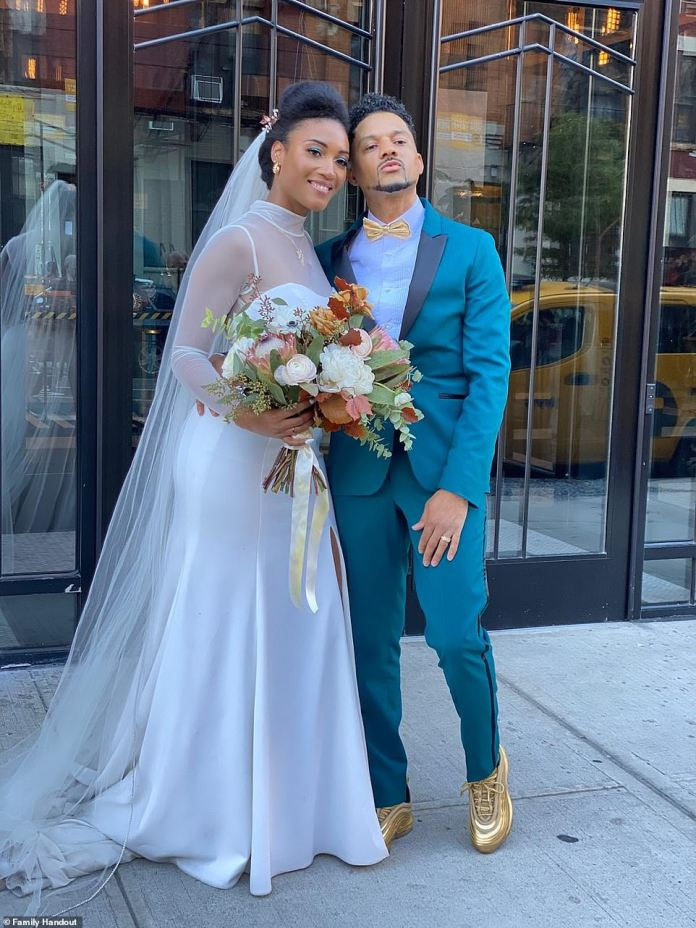 Newlyweds:Kwame and Justice Keyes (nee Batten) held a ceremony at the fountain at Grand Army Plaza in Brooklyn, New York