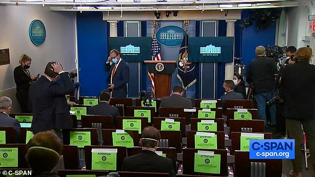 Reporters were left bemused by the brief press conference, and overheard remarking about it