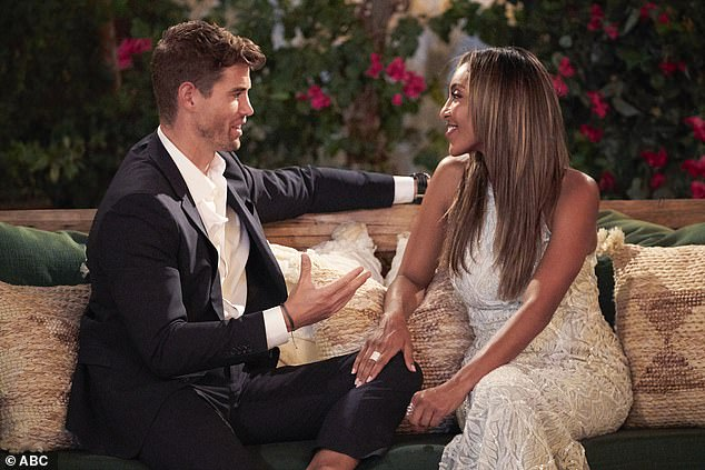 So long: Chasen talked to Tayshia but was still sent home during the rose ceremony