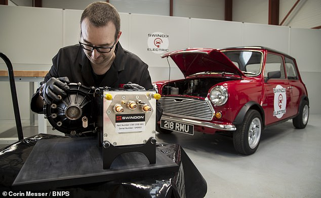 At the moment, the conversion system is designed specifically to fit the engine bay of a Mini, pictured — but could be adapted in future to aid any classic car, the designers said