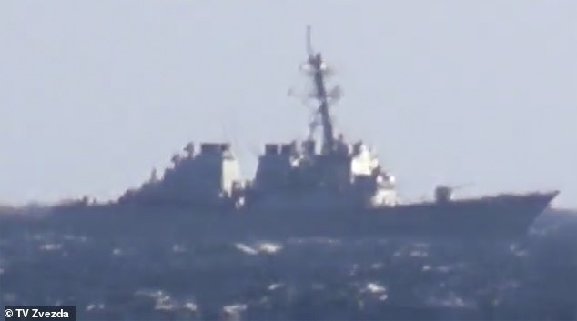 The footage was taken from the anti submarine vessel Admiral Vinogradov, came during a high-tension flashpoint