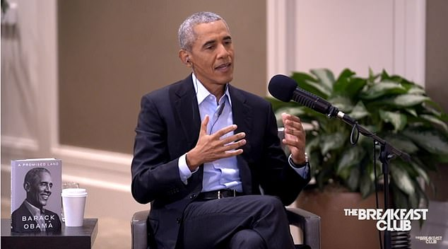 Former President Barack Obama explained that the 'stories' told in politics often motivate voters and blamed Republicans for creating a narrative that white men are 'victims'