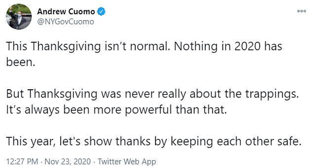 Cuomo was branded a 'hypocrite' by the press this week for urging New Yorkers not to gather with those outside of their household on Thanksgiving despite his own plan to dine with family