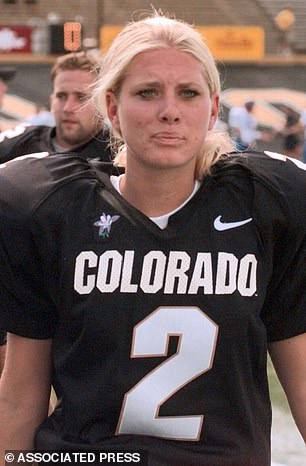 Katie Hnida became the first woman to score in a Division I-A bowl game in 2000 while kicking for Colorado, and later transferred to New Mexico, where she played three seasons