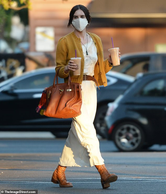 So chic:Scout Willis was dressed in designer duds during a coffee run in Los Angeles on Tuesday