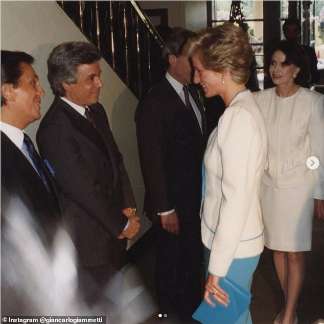 Giancarlo, who co-founded the fashion house with Valentino Garavani, also shared another photo of the two of them greeting the princess at a formal event. It's not known when or where it was taken