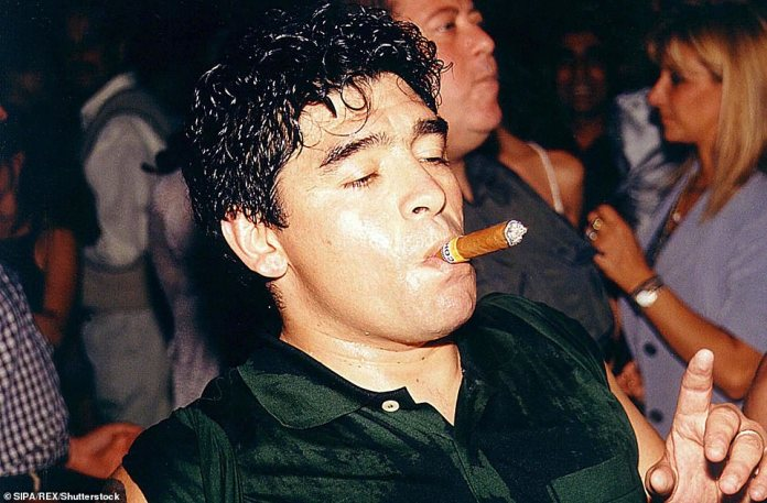 Maradona partying after a fashion show in Uruguay in 1989