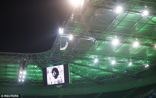 Pictures of the World Cup winner were shown on huge screens at Borussia-Park before kick-off