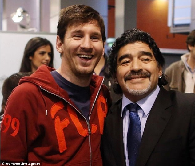 Lionel Messi (left) took to Instagram to post this picture with Maradona, alongside a message