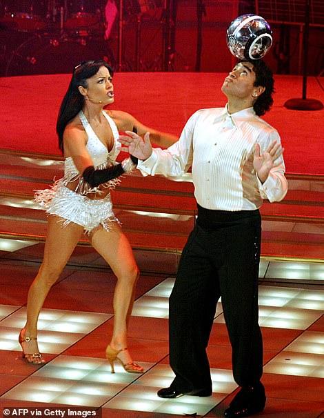 Maradona dancing on an Italian TV show in 2005