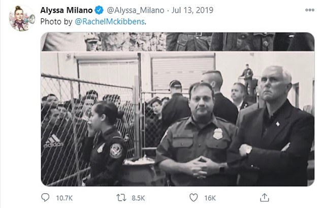 In July of last year, Milano also posted a tweet that juxtaposed a photo of Vice President Mike Pence at a migrant detention center with a picture of Nazi SS Commander Heinrich Himmler visiting a concentration camp
