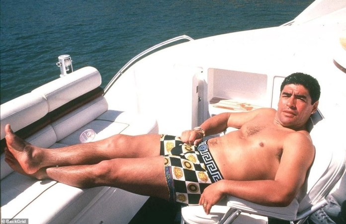 Maradona lounging on the back of a yacht in 1986