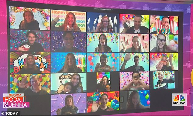 Zoom party:Today show staffers joined the celebration via video chat and could be seen on the big screen in Studio 1A