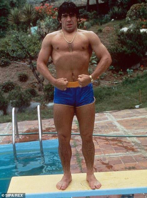Maradona at home by his swimming pool