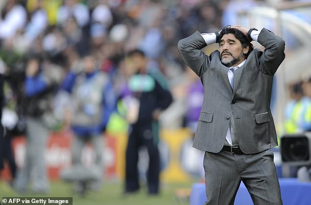Maradona, pictured at 2010 World Cup as Argentina boss, was just as fired up as a manager
