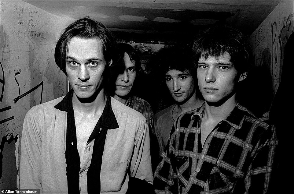 Above, Tom Verlaine, Fred Smith, Billy Ficca and Richard Lloyd of the band Television. Verlaine and Richard Hell co-founded a band called the Neon Boys and then Television. The legend goes that they convinced CBGB owner Hilly Kristal to let them play regularly at the Bowery bar. However, Verlaine and Hell had their differences. Fred Smith replaced Hell after he left the band. The group's 1977 debut album Marquee Moon is considered a classic. Tannenbaum said he took this image,Television backstage at CBGB, NYC, 1977, for a story