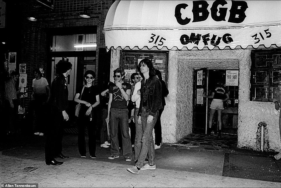 Tannenbaum described CBGB as 'dodgy' and 'grungy.' To many, it is the birthplace of punk. It is where legends like the Ramones, Patti Smith, Television, Blondie, the Talking Heads and several others played.Tannenbaum pointed out that it was a challenge to take pictures at the graffitied venue. 'As a photographer, you didn't have much room.' Above, xoutside of CBGB, NYC, 1977. He noted that CBGB could be claustrophobic. 'When the weather was nice, people would take a break.' Kaye, a guitarist and composer, was an important part of the scene and a member of the Patti Smith Group