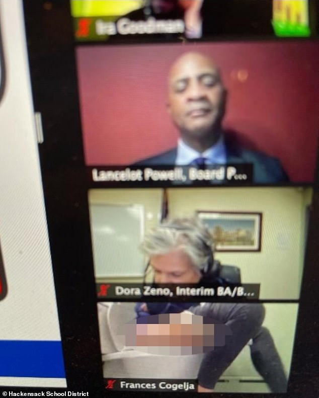 During a Zoom meeting attended by 150 trustees, board members, and students, Cogelja forgot to turn the camera of her laptop off while going to the bathroom to relieve herself (above)