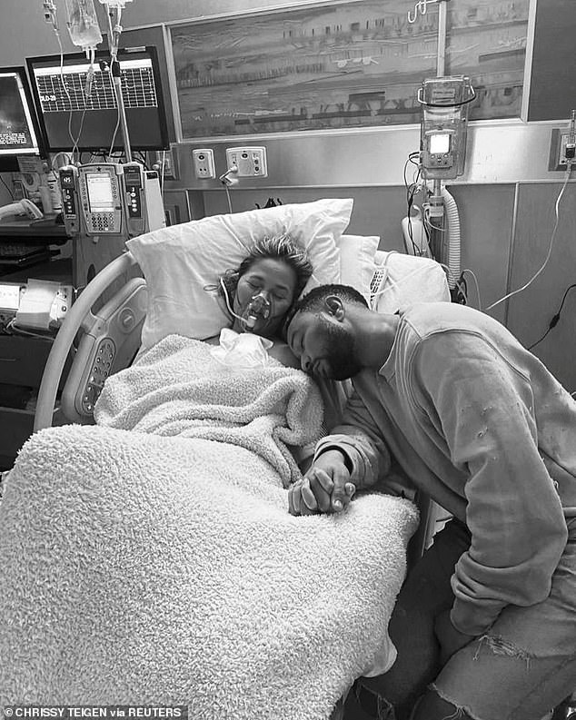 Opening up:Following the loss of baby Jack on September 30, Chrissy published a heartbreaking essay to Medium that recounted the complications she had endured leading up to his stillbirth; Chrissy and John pictured on September 30