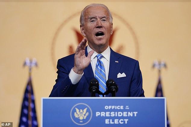 President-elect Joe Biden speaks to crowds in Wilmington, Delaware on November 25