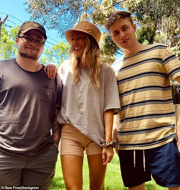 Reunited:Sam Frost has finally been able to reunite with members of her family after spending months apart due to COVID-19 restrictions. Pictured with brothers Josh and Alex