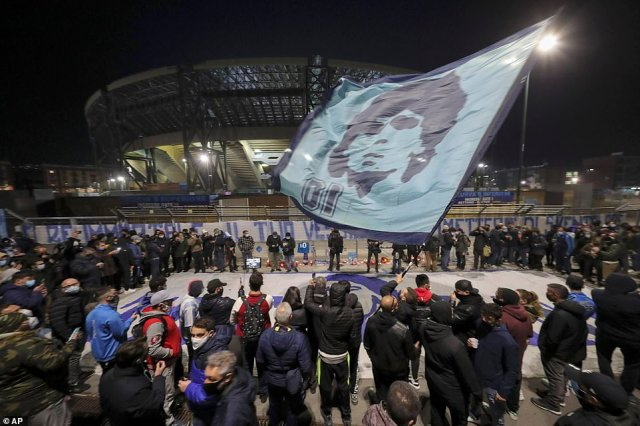 Thousands of Napoli fans gathered outside the San Paolo Stadium to pay their respects to the player who led them to Champions League glory