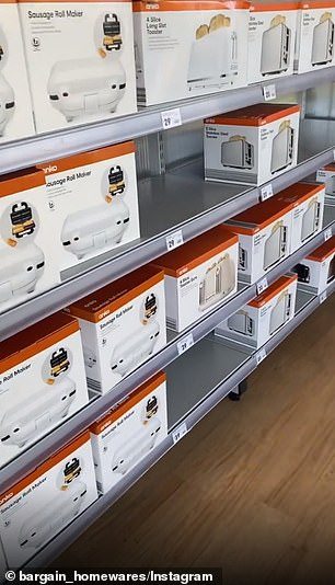 In the kitchen aisle, the shelves are fully stocked with gadgets such as sausage roll makers and toasters