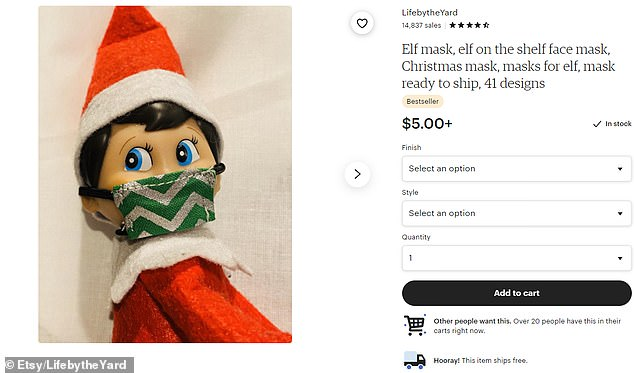 Safety first: A number of Etsy sellers are offering mini face masks for the elves this holiday season, including LifebytheYard