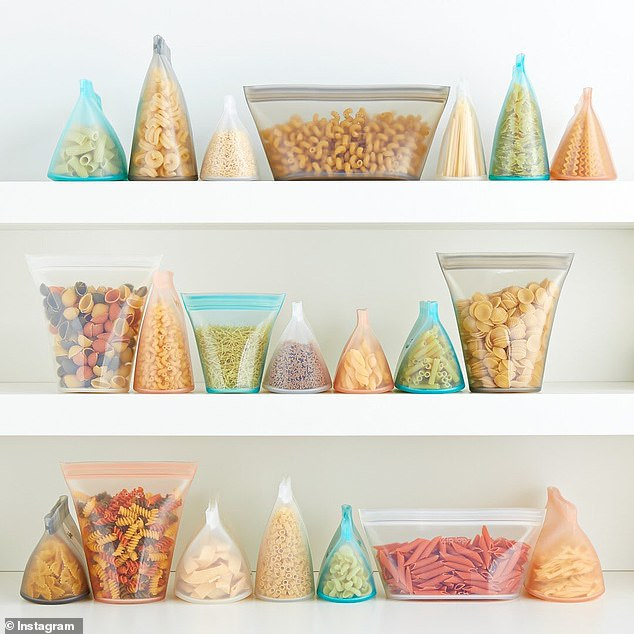 Those who have tried the 'game-changing' storage bags and containers online say they love how easy and 'seamless' they are to use (pictured)